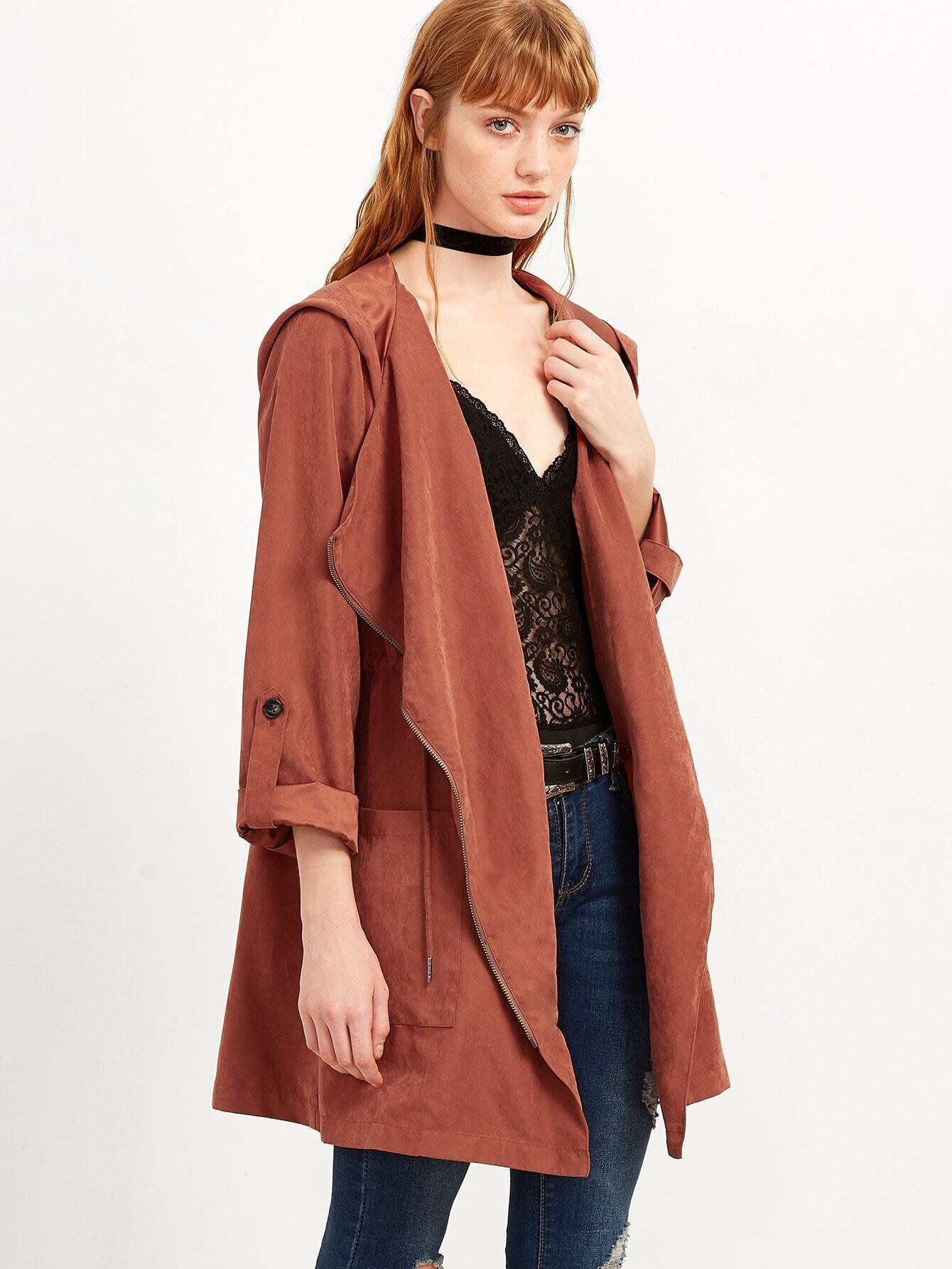 Brick Red Faux Suede Asymmetric Zip Hooded Coat EmmaCloth-Women ...