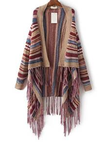 Multicolor Striped Fringe Detail Poncho Sweater