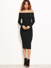 Black Off The Shoulder Pencil Dress