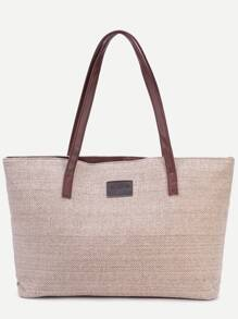 Light Khaki Zip Closure Linen Tote Bag