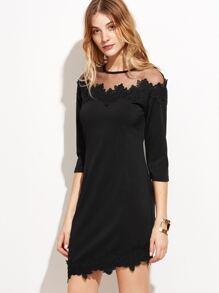 Black Sheer Mesh Applique Dress