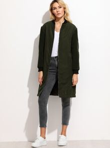 Olive Green Fleece Sleeve Faux Suede Bomber Coat