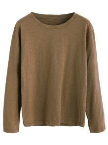 Khaki Drop Shoulder Basic T-shirt