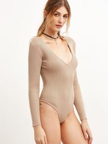 Pink Deep V Neck Ribbed Knit Bodysuit