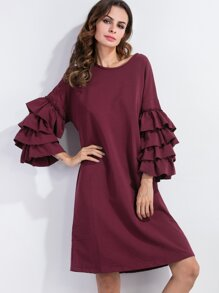 Burgundy Tiered Ruffle Sleeve Tunic Dress