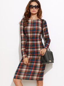 Multicolor Plaid Long Sleeve Pencil Dress