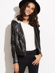 Black Faux Leather Biker Jacket With Detachable Hood