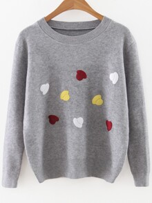 Grey Cartoon Hat Print Round Neck Sweater
