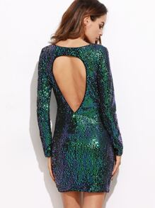 Iridescent Green Open Back Sequin Bodycon Dress