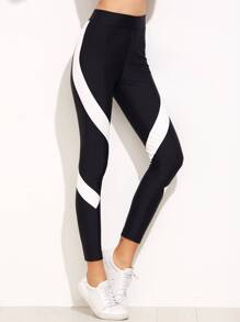 Black Contrast Panel High Waist Leggings