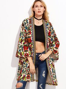 Colorful Open Front Outwear With Tribal Print Tape Detail