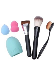 6PCS Brush Cleaning Brush Powder Puff Makeup Tool Set