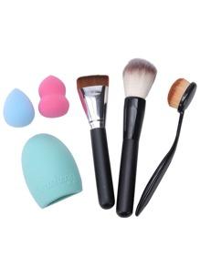 6PCS Brush Cleaning Brush Powder Puff Makeup Tool Set