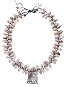 Cowrie Shell Bell Pendant Statement Necklace