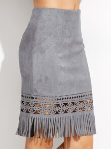Grey Hollow Out Fringe Hem Zipper Suede Skirt