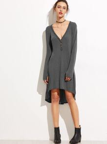 Grey Deep V Neck Dip Hem Button Front Dress