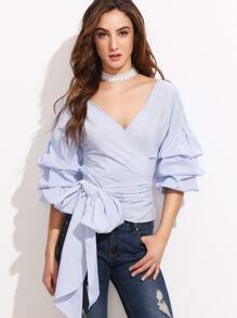 Blue Pinstripe Deep V Neck Tie Front Ruffle Blouse