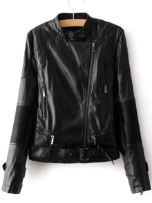 Black Oblique Zipper Textured Detail PU Jacket With Belt