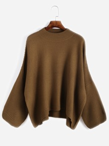 Khaki Drop Shoulder Loose Sweater