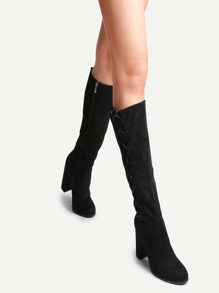 Black Faux Suede Lace Up Side High Heel Boots