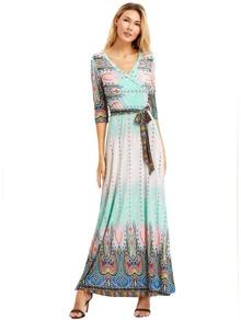Pink Vintage Print Self Tie Maxi Dress
