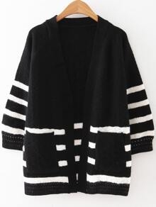 Black Striped Raglan Sleeve Pocket Sweater Coat