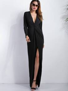 Black Deep V Neck Slit Front Maxi Dress