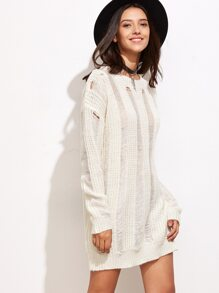 White Drop Shoulder Ripped Sweater Dress