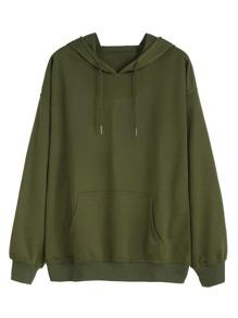 Army Green Drawstring Pocket Hooded Sweatshirt