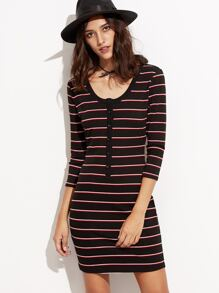 Black Striped Button Front Ribbed Sheath Dress