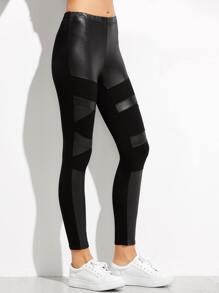Black Contrast Faux Leather Leggings