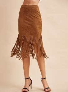 Camel Faux Suede Fringe Trim Bodycon Skirt