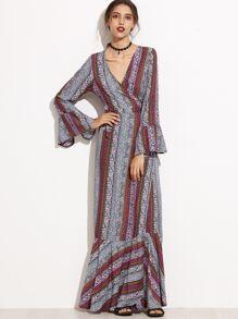 Deep V Neck Bell Sleeve Self Tie Wrap Dress