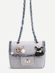 Cute Grey Faux Leather Box Bag With Chain Strap