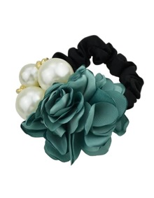 Green Fower Pearl Elastic Hair Band