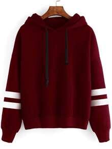 Burgundy Drop Shoulder Varsity Striped Hooded Sweatshirt