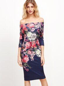Multicolor Rose Print Off The Shoulder Dress