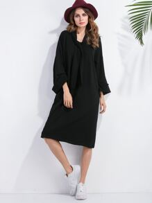 Black Tie Neck Drop Shoulder Cuffed Dress