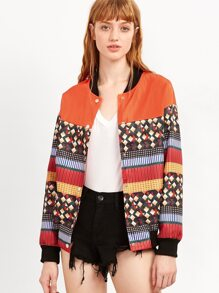 Multicolor Geometric Print Bomber Jacket