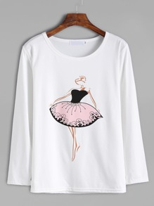 White Dancing Girl Print T-shirt