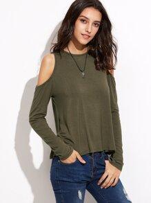 Olive Green Open Shoulder Split Back T-shirt