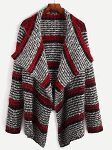 Multicolor Striped Pattern Drape Collar Fluffy Cardigan