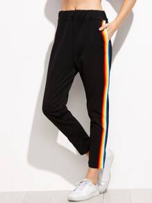 Black Rainbow Stripe Side Pants