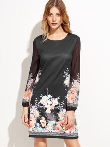 Black Flower Print Sheer Sleeve Shift Dress