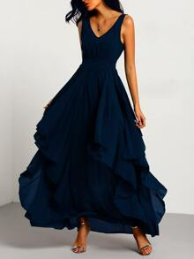 Navy Deep V Neck Layered Chiffon Dress