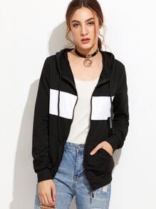 Black Contrast Trim Hooded Sweatshirt