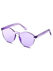Purple Clear One Piece Retro Style Sunglasses