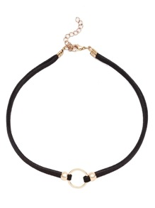 Gold Plated Circle Cord Choker Necklace