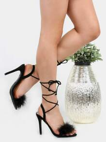 Lace Up Feather Suede Heels BLACK