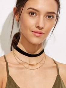 Black Layered Horizontal Bar Choker Necklace